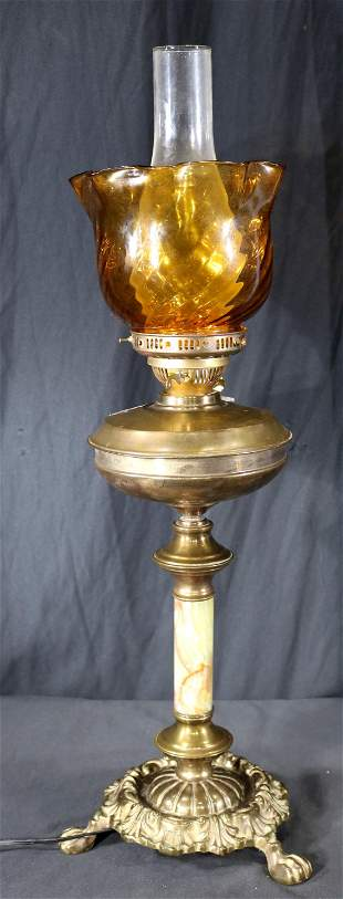 Brass and onyx Victorian banquet oil lamp