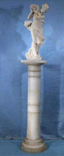 White marble pedestal with marble, 64 in. T.