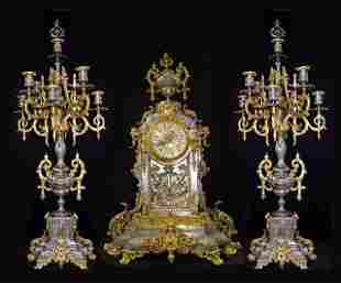 Incredible palatial French clock and 9 light candelabra