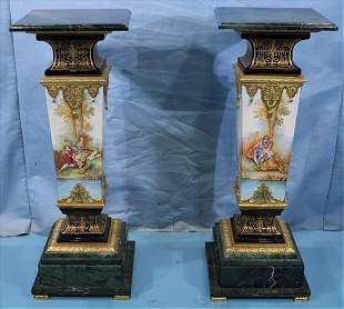 Pair painted porcelain contemporary pedestals