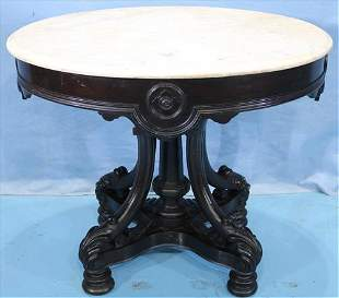Walnut Victorian oval marble top table