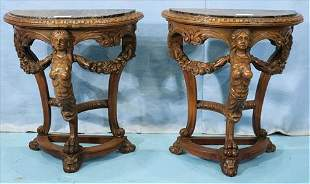 Pair walnut renaissance carved side tables