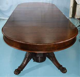 Mahogany empire banquet table with 7 leaves