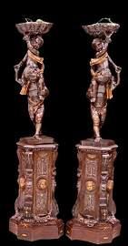 Magnificent Renaissance Revival Double Carved pedestals