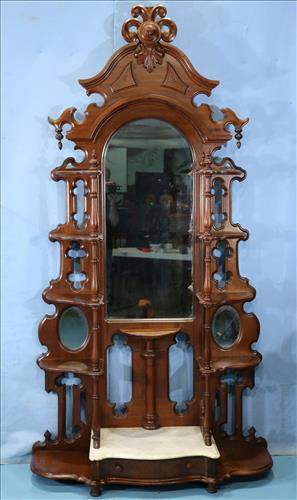 Walnut Victorian etagere with marble base