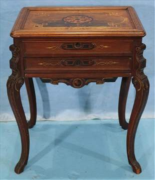 Walnut Victorian inlaid sewing cabinet