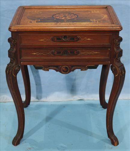 Walnut Victorian inlaid sewing cabinet