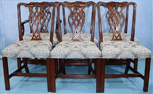 Set of 8 mahogany straight leg dining chairs