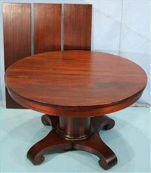 Mahogany Empire dining table with 3 leaves