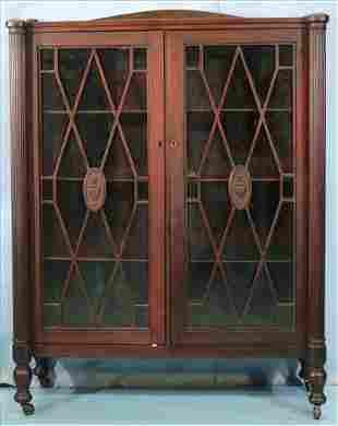 Adams style mahogany 2 door bookcase
