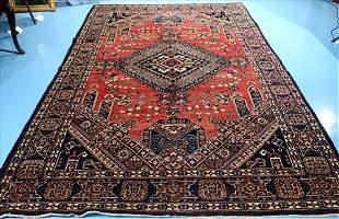 Hand made Persian medallion rug, 7.2 x 10.8