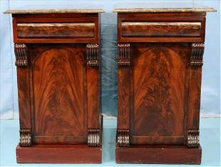 Pair of mahogany Empire bed side stands