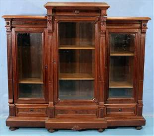 Walnut Victorian 3 door bookcase, comes apart