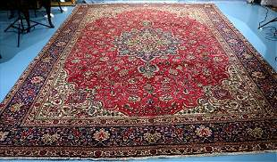 Large hand made Persian rug, 13 x 9.8