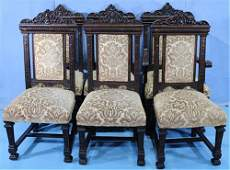 Set of 6 oak dining chairs with shield in crown