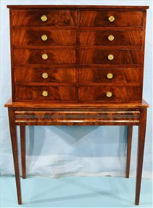Early mahogany silver chest on stand with drawer