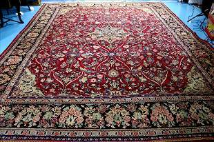 Large hand made Persian rug, 13.6 x 10.6