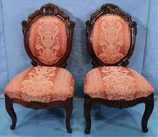 Pair of contemporary mahogany chairs