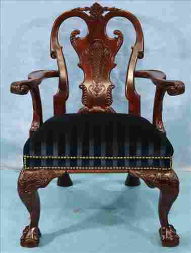 Mahogany Chippendale arm desk chair