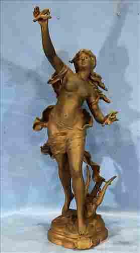 White metal statue of Greek girl