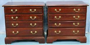 Contemporary mah. 4 drawer bedside chest