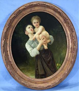 Contemporary oil on board of girl and young boy