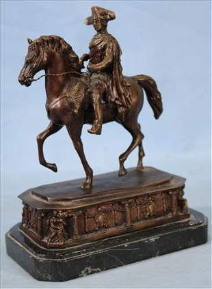 Bronze statue of soldier on horse, 10.5 in. T.