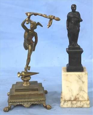2 bronze statues of Mercury and Julius Caesar