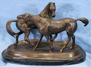 Cast bronze statue of 2 horses on marble base