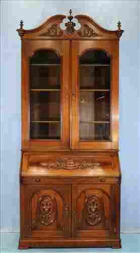 Walnut Victorian slant front secretary desk