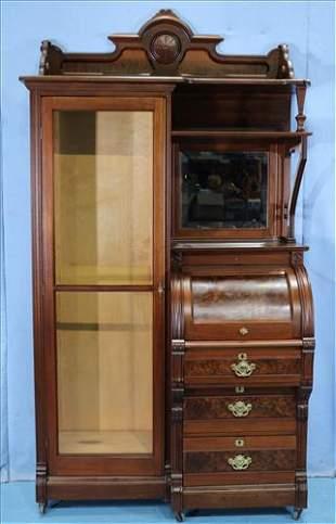 Walnut Victorian side by side secretary desk