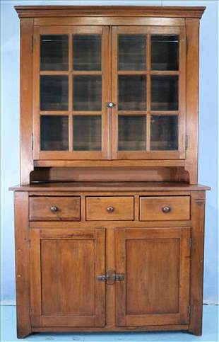 Solid walnut primitive step back cupboard
