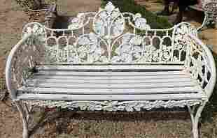 Heavy cast iron garden bench with wood seat