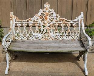 Cast iron garden love seat with wood seat