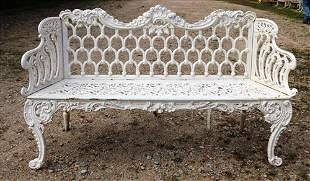Large cast iron garden bench with iron seat