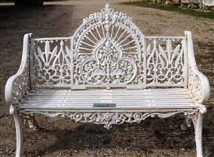 Very heavy cast iron garden bench with fan back