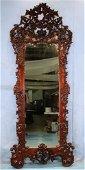 Mahogany rococo mirror by J & J Meeks, ca. 1850