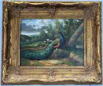 Oil on canvas of peacock and ducks