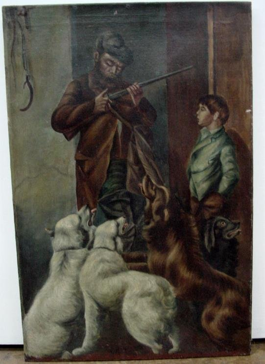 005: 19th Century, Oil On Canvas, Father, Son & Dogs