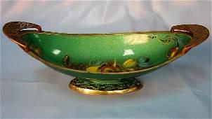 160 Green Enameled on Brass Center Bowl Signed Israel