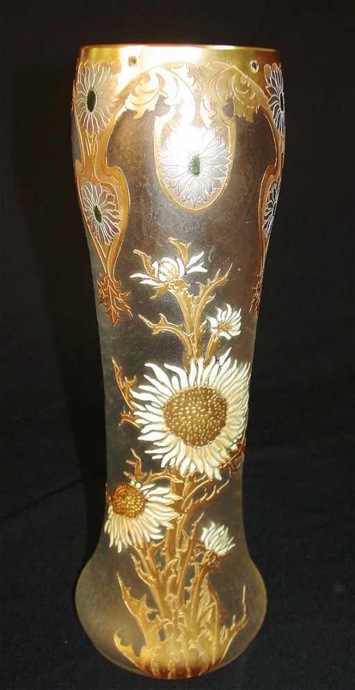 333 Mont Joye Legras Etched Satin Glass Vase