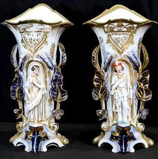 Pair of figural old Paris mantle vases