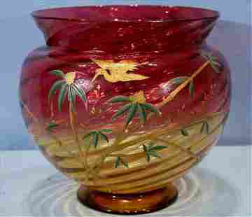 Large amberina center bowl with gold flowers