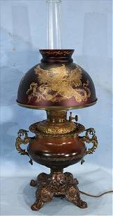 Lamp with dragons by Parker Lamp Co.