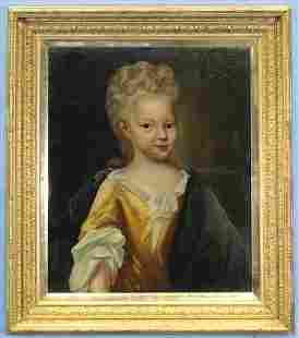 Unsigned oil on canvas of little girl