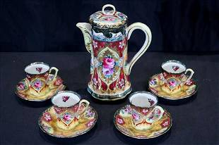 9 piece hand painted Nippon tea set