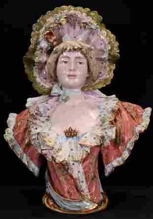 Victorian porcelain bust of Victorian girl with bonnet