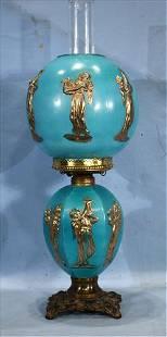 Rare blue Fostoria oil lamp by Fostoria glass Co.
