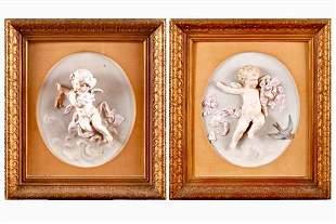 Pair 19th Century Porcelain Plaques of cherubs