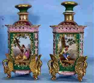 Pair of Old Paris cologne bottles